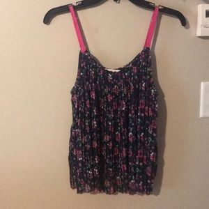 Navy blue float tank top with pink/green flowers